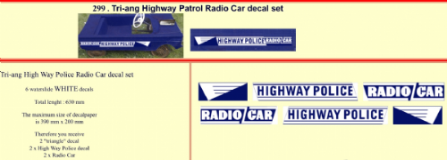 299 Tri-ang Highway Patrol Radio Car decal set
